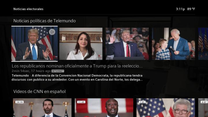 The Election Central hub on Xfinity X1